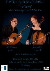Read more about the article Dimanche 9 – 17:00 à 19:00 – Concert de Pablo Marquez et Anja Lechner – «Die Nacht»