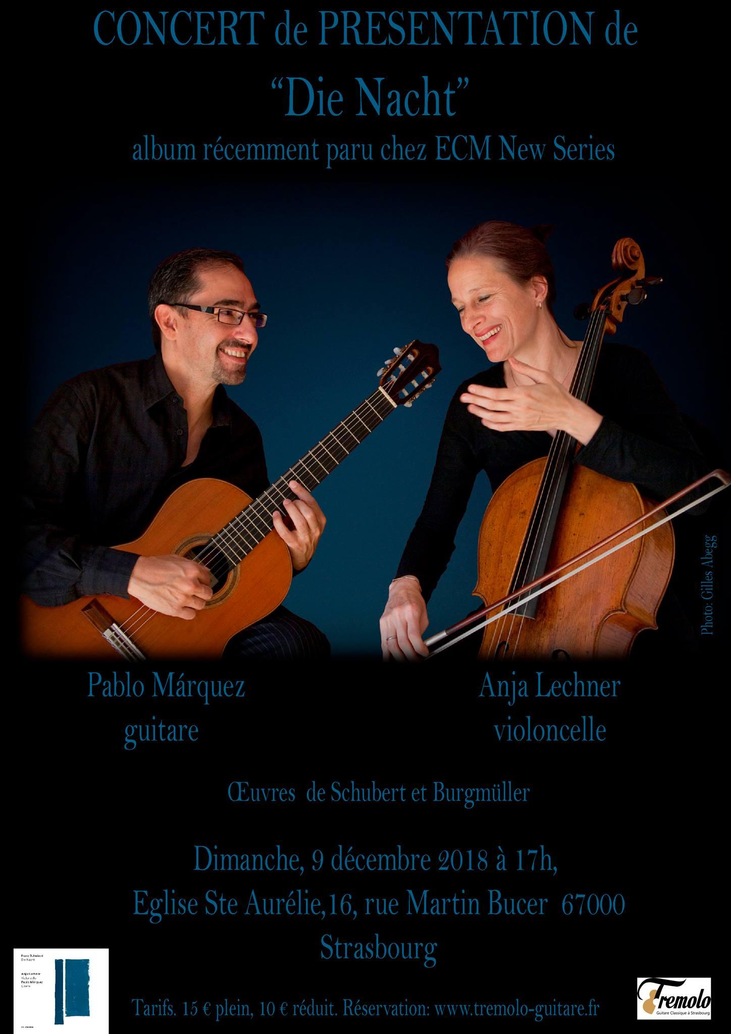 Dimanche 9 – 17:00 à 19:00 – Concert de Pablo Marquez et Anja Lechner – «Die Nacht»